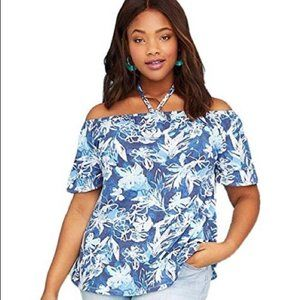 Lane Bryant Floral Off Shoulder Halter Top NWT